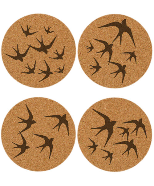 black swallows cork coaster