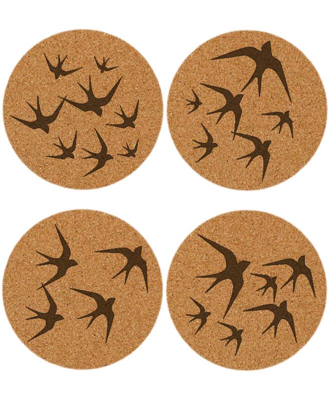 black swallows cork coaster