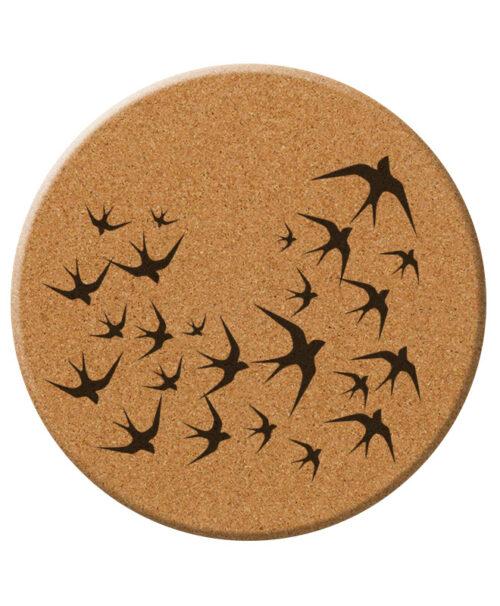 black swallows cork trivet