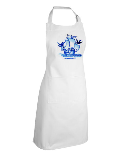 Portuguese Blue Galleon Apron white with 2 pokets