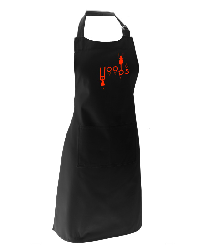 Hoops Black Apron with red printing creativelisbon