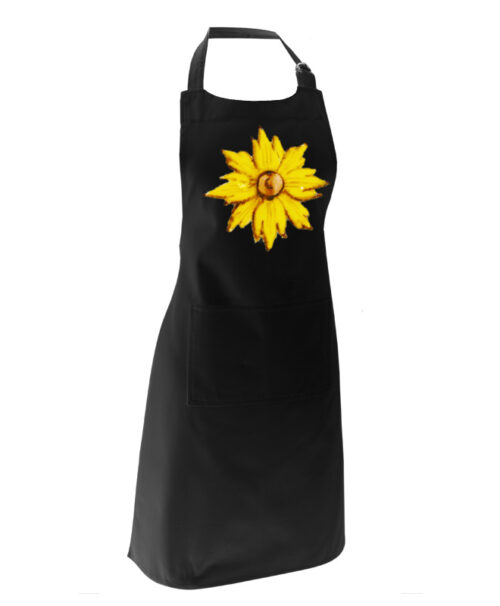 Yellow Flower Apron black