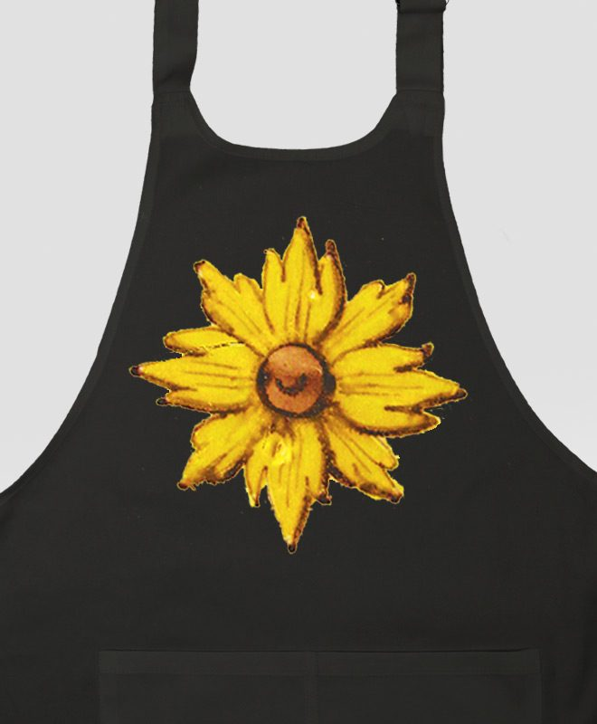 Yellow Flower Apron black detail