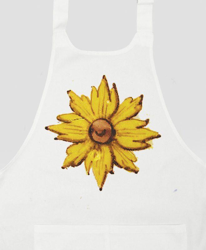 Yellow Flower Apron white detail