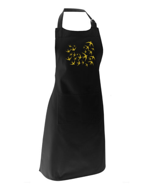 golden swallows black apron with lisboa
