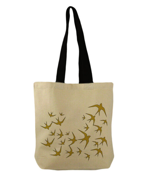 Golden swallows bucket bag