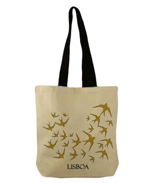 Lisbon gold swallows bucket bag with Lisboa