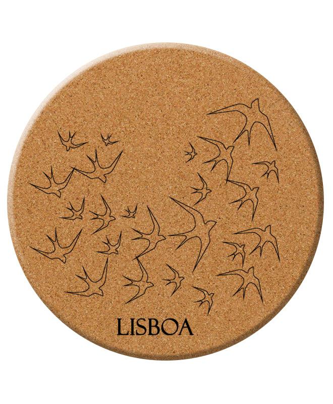 Lisbon Transparent swallows cork trivet with lisboa