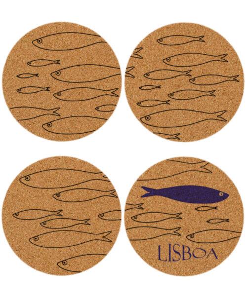 Lisbon Sardines Cork Coasters withblue sardine