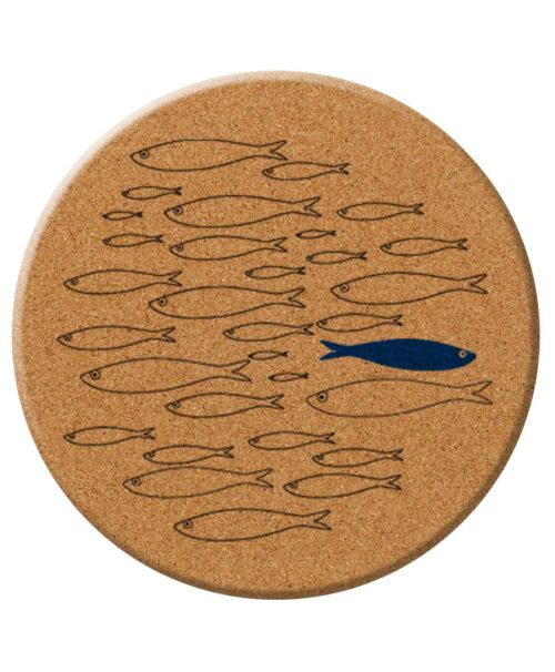 blue sardine cork trivet creative lisbon