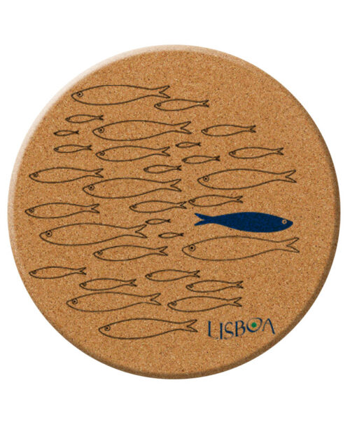 Lisbon sardine cork trivet with text lisboa