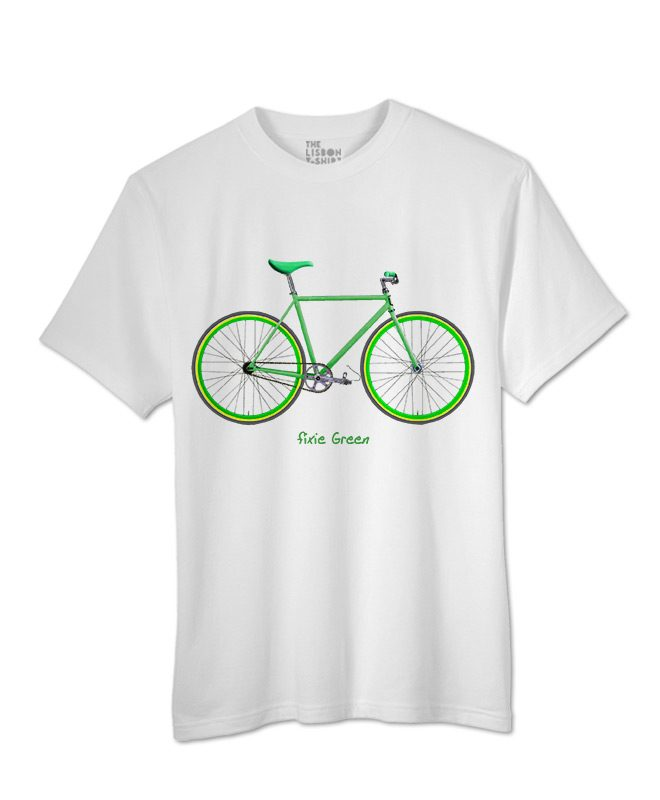 Green Fixie T-shirt white creativelisbon