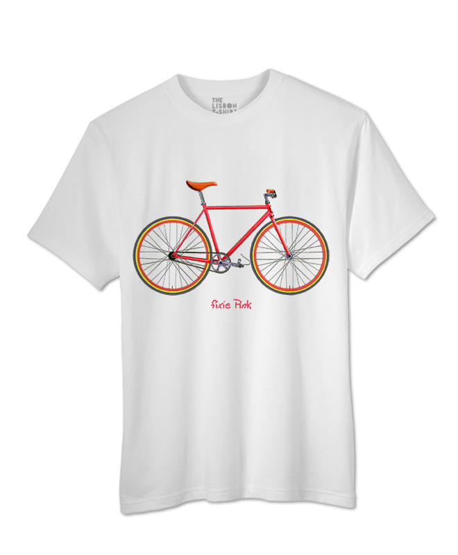 Pink Fixie T-shirt white creativelisbon