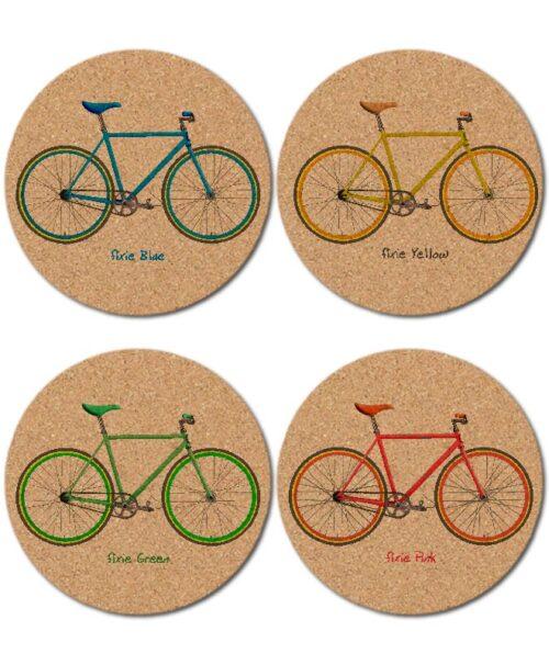 Fixie Bikes cork coasters creativelisbon