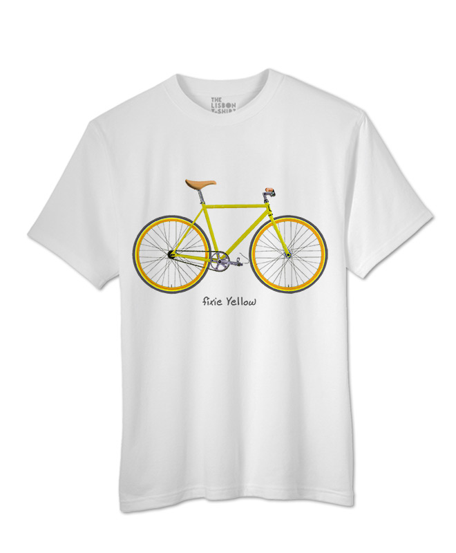 Yellow Fixie T-shirt white creativelisbon