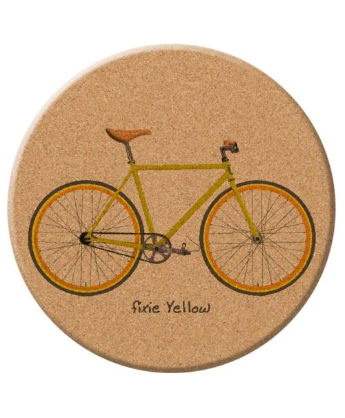 yellow Fixie cork trivet creativelisbon