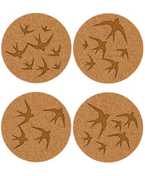 Golden swallows cork coasters without lisboa