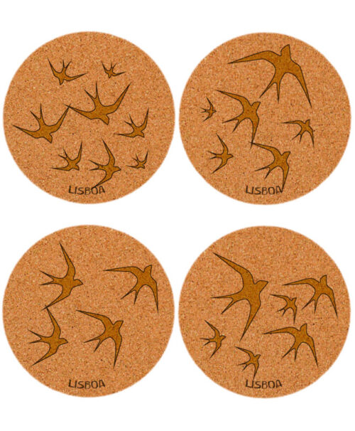 Golden swallows cork coasters with lisboa