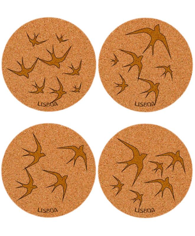 Golden swallows cork coasters with lisboa