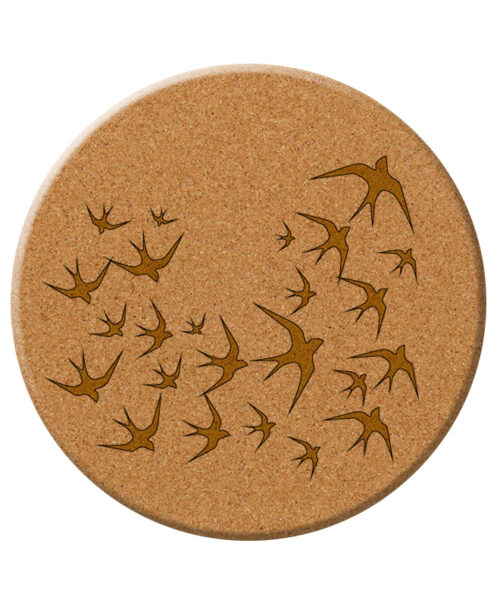 Golden swallows cork trivet without lisboa