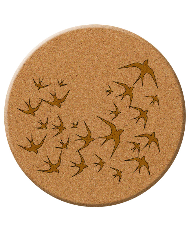 Golden swallows cork trivet without lisboa