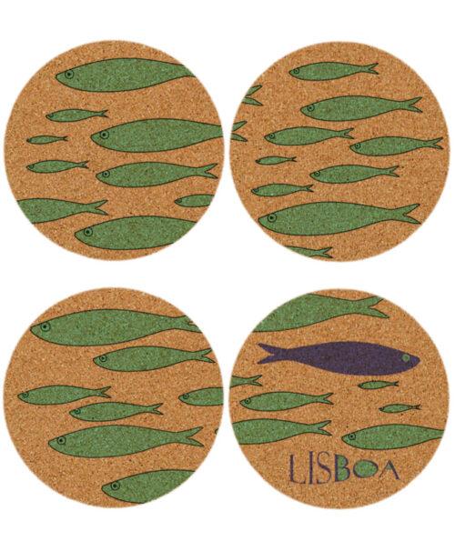 Lisbon Sardines Cork Coasters