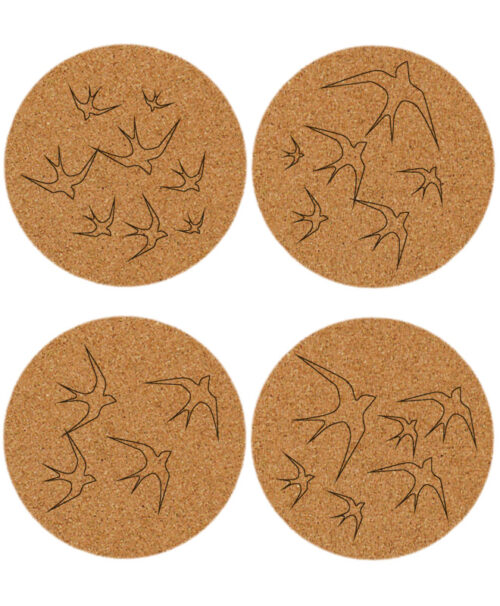 Transparent swallows cork coasters without lisboa