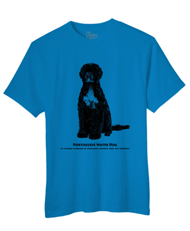 Portuguese water dog t-shirt atol blue