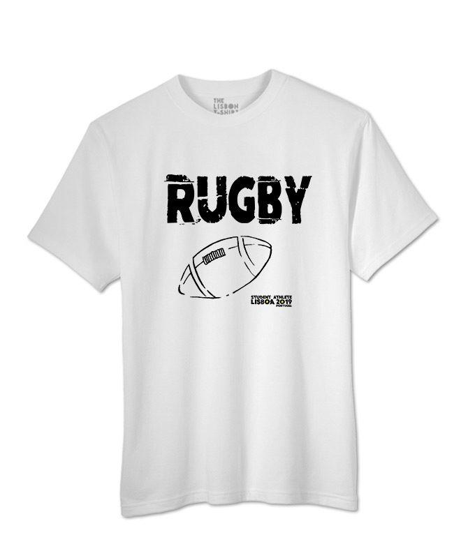 rugby festival white t-shirt black printing