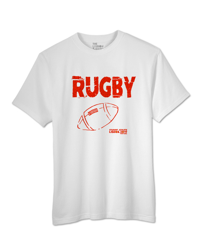 rugby festival white t-shirt black printing