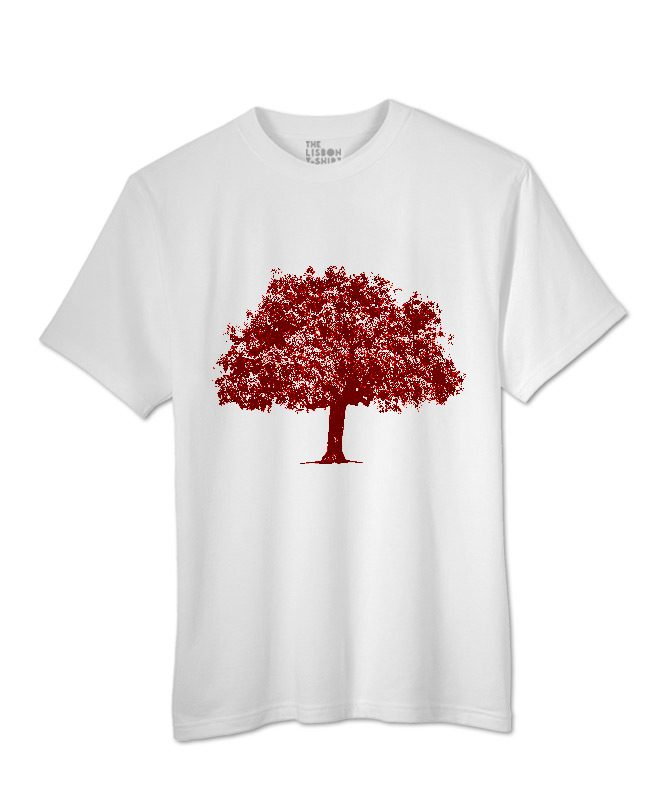 Red Cork Oak T-shirt white creativelisbon