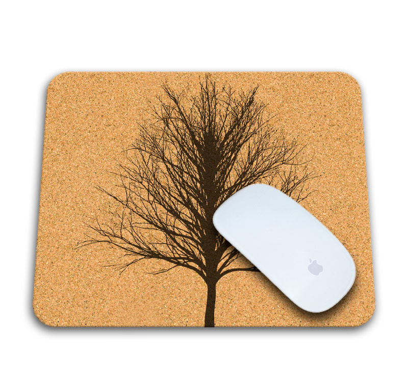 Winter tree cork mousepad with mouse