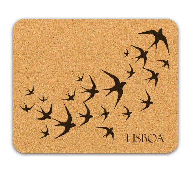 black swallows cork mousepad with lisboa