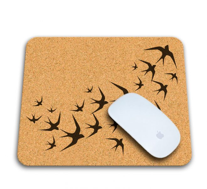 black swallows cork mousepad with mouse