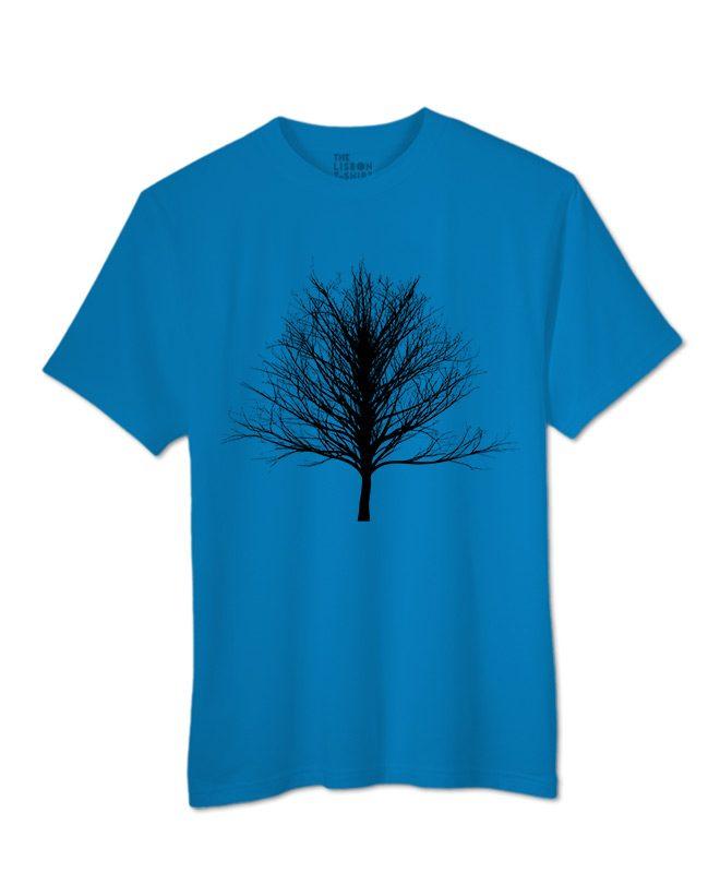 Black Winter Tree T-shirt royal blue colour creativelisbon