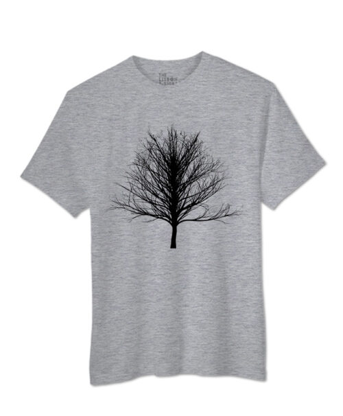 Black Winter Tree T-shirt heather grey colour creativelisbon