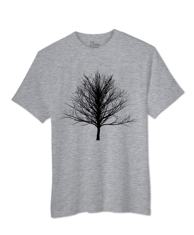Black Winter Tree T-shirt heather grey colour creativelisbon