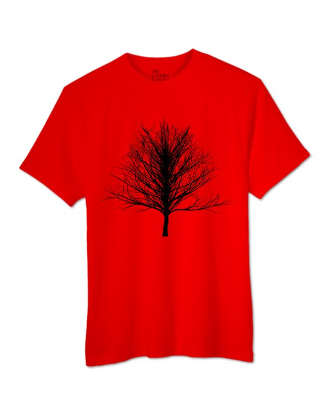 Black Winter Tree T-shirt red colour creativelisbon