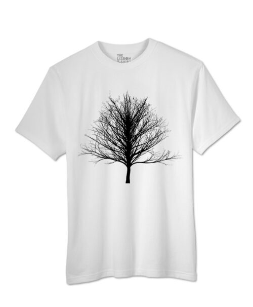Black Winter Tree T-shirts - white colour