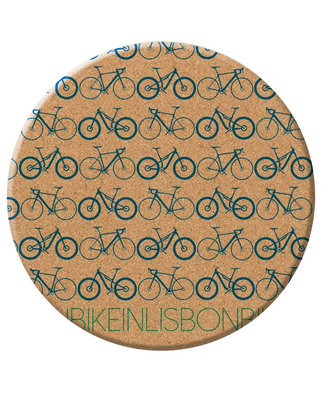Bike in Lisbon Trivet blue printing