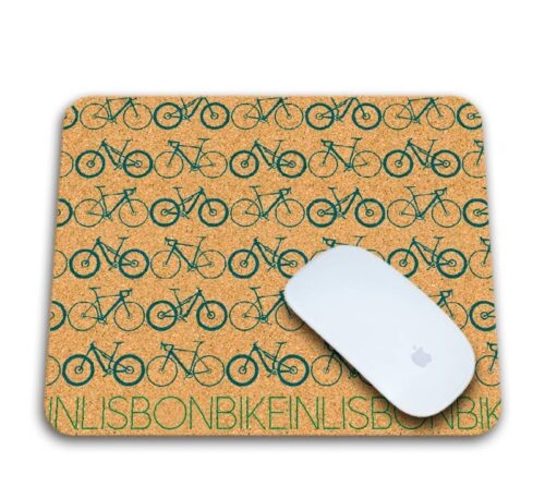 Bike in Lisbon Mousepad with mouse blue printing