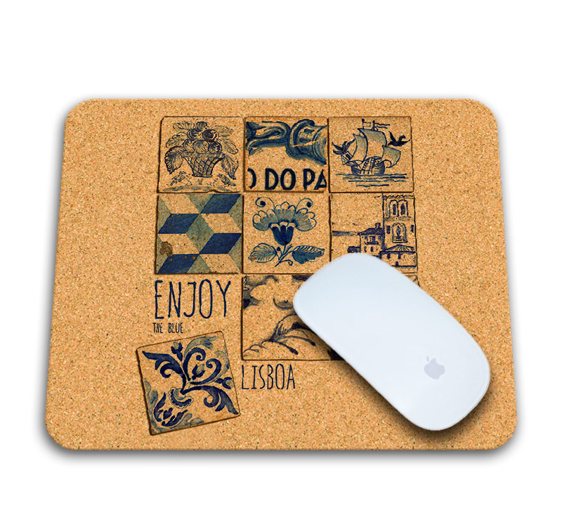 Enjoy the blue cork mousepad with mouse