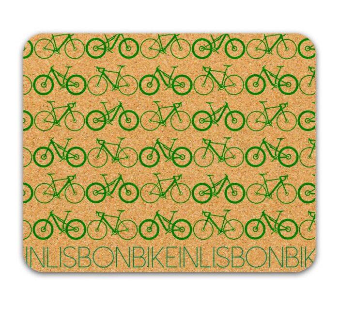 Bike in Lisbon Mousepad green printing
