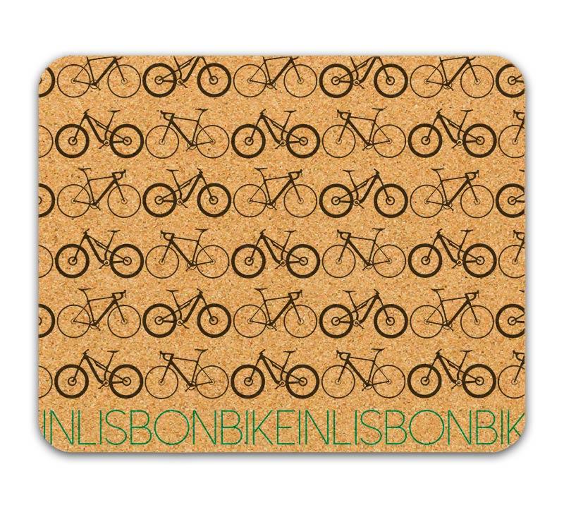 Bike in Lisbon Mousepad grey printing