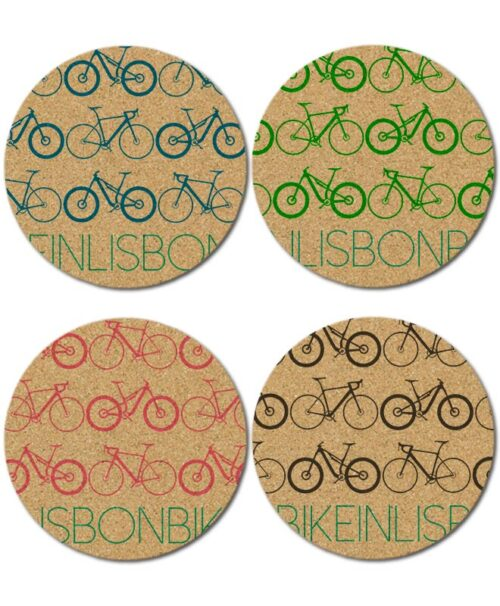 Bike in Lisbon Cork Coasters