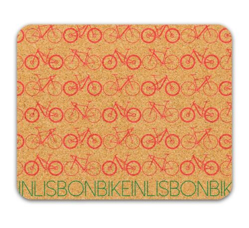 Bike in Lisbon Mousepad red printing