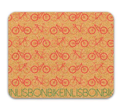 Bike in Lisbon Mousepad red printing