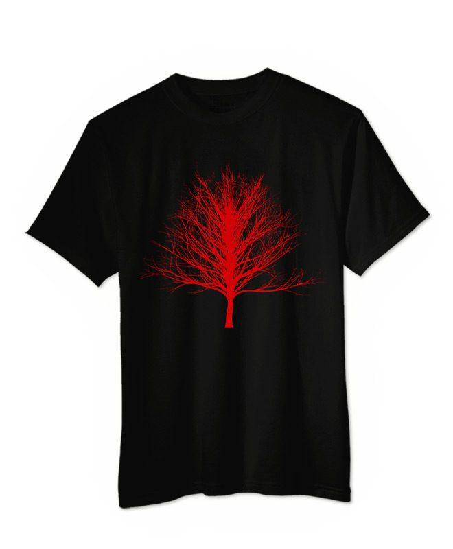Red Winter Tree T-shirt black colour creative lisbon