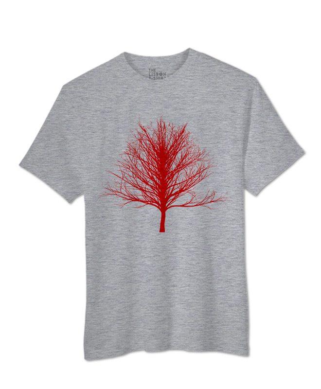 Red Winter Tree T-shirt heather grey colour creative lisbon