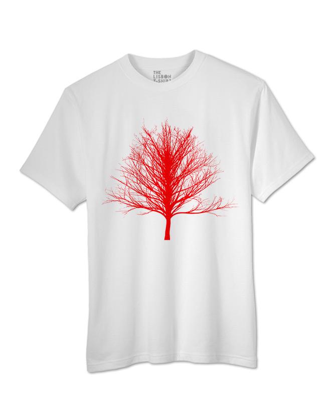 Red Winter Tree T-shirt white colour creative lisbon